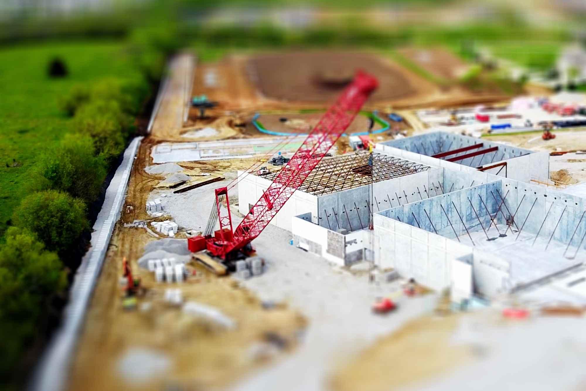 Bauarbeiten Konstruktion einer Halle