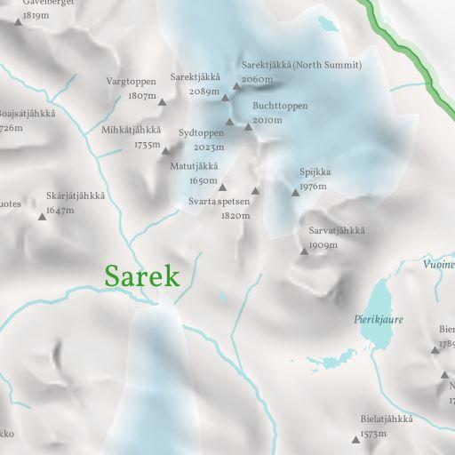 Ausschnitt aus der Sarek Nationalpark Karte ohne Kolorierung nach Imhof